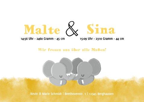 Geburtskarte für Zwillinge Elefantenbabies 3