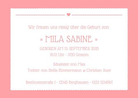 Geburtskarte großes Foto und rosa Label 3