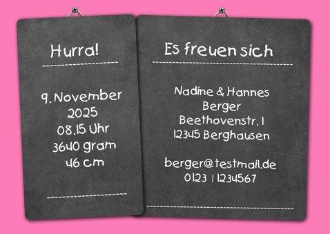 Geburtskarte Kalender rosa auf Kreidetafel mit Foto 3