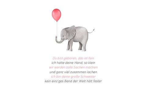 Geburtskarte kleine Schwester Elefanten mit Luftballon 2