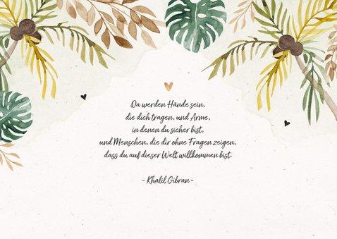 Geburtskarte mit kleinem Leopard und Palmen 2