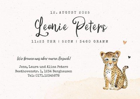 Geburtskarte mit kleinem Leopard und Palmen 3