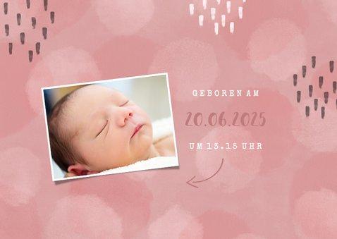 Geburtskarte rosa Fotocollage mit Ultraschallfoto 2
