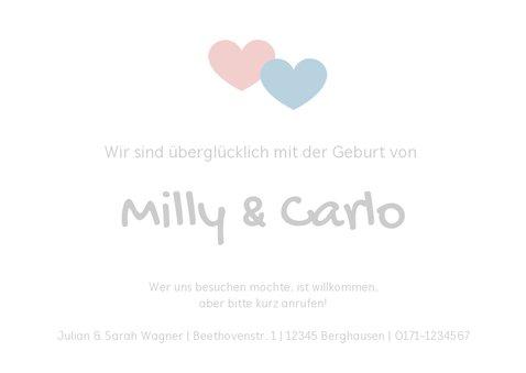 Geburtskarte Zwilling Foto & kleine Symbole 3