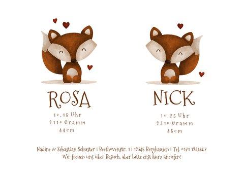 Geburtskarte Zwilling kleine Füchse 3