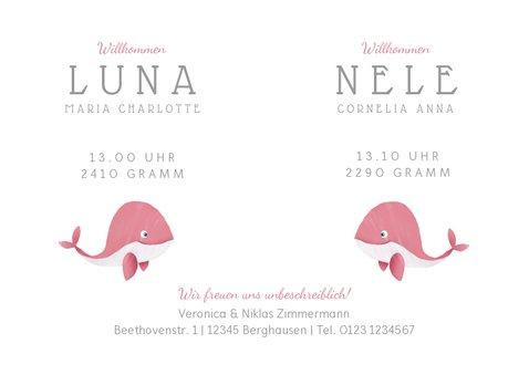 Geburtskarte Zwilling kleine Wale rosa 3