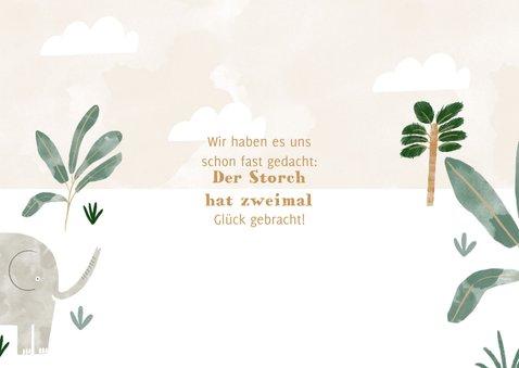 Geburtskarte Zwilling mit Elefanten, Wolken und Pflanzen 2