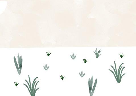 Geburtskarte Zwilling mit Elefanten, Wolken und Pflanzen Rückseite