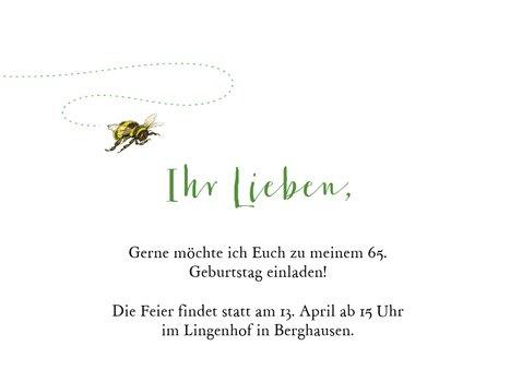 Geburtstagseinladung Blumenwiese und Biene 2