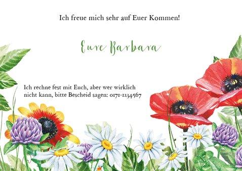 Geburtstagseinladung Blumenwiese und Biene 3