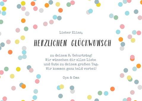 Geburtstagskarte für Kinder bunte Konfetti 3