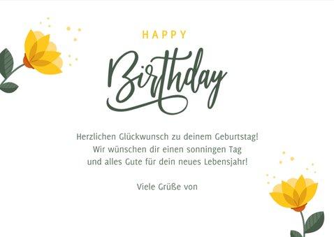 Geburtstagskarte Gelbe Blumen 'Happy Birthday' 3