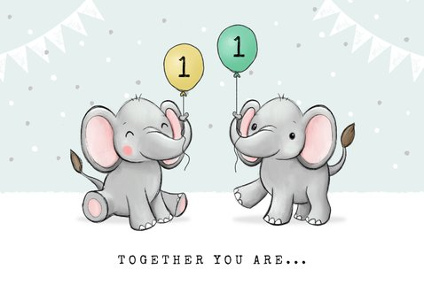 Geburtstagskarte Zwilling Kleine Elefanten 2