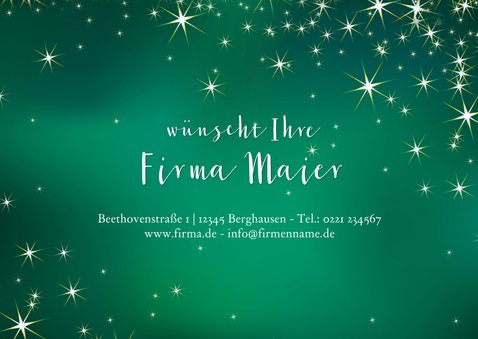 Geschäftliche Weihnachtskarte grün mit Sternen 3