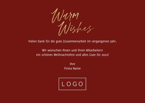 Geschäftliche Weihnachtskarte 'Warm wishes' Fotocollage 3