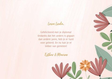 Geslaagd kaart met kleurrijke bloemen 3