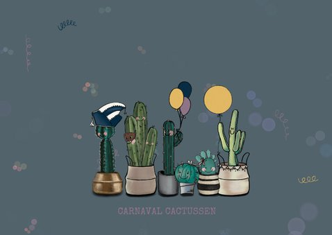 Gezellige carnavalskaart met cactussen in optocht 2