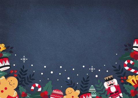Gezellige kerstkaart met notenkraker, hulst en zuurstokjes Achterkant