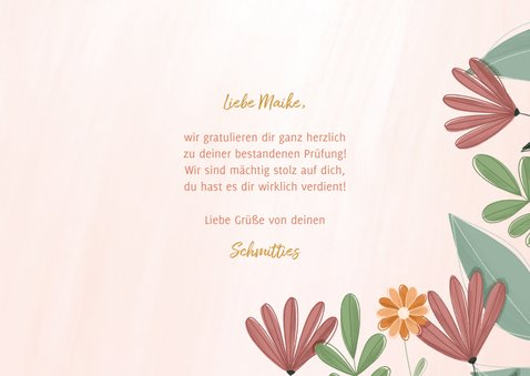 Glückwunschkarte Bestanden Blumenrahmen 3