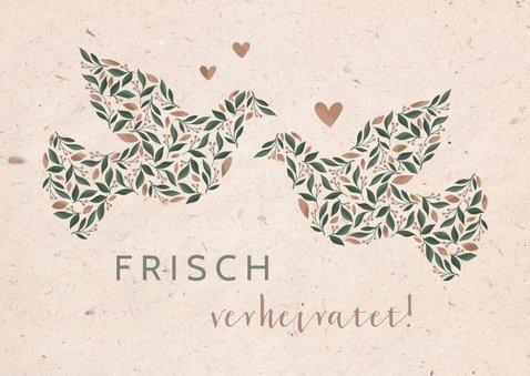 Glückwunschkarte 'frisch verheiratet' mit Tauben 2