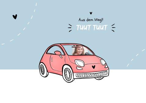 Glückwunschkarte Führerschein Foto rosa Auto 2