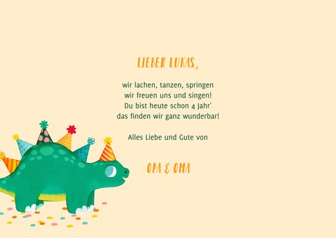 Glückwunschkarte Geburtstag Kind Dinosaurier 3