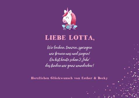 Glückwunschkarte Geburtstag Mädchen Einhorn lila 3