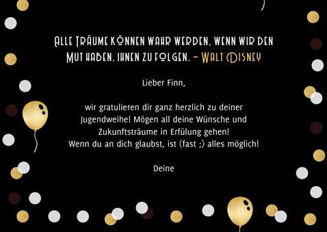 Glückwunschkarte Jugendweihe Luftballons & Konfetti 3