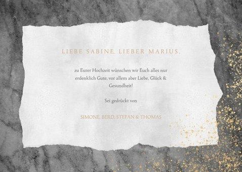 Glückwunschkarte 'Just married' mit Marmor und Goldstaub 3