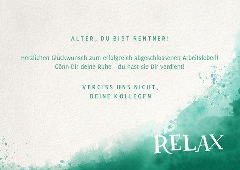 Glückwunschkarte Rente Lettering Relax 3