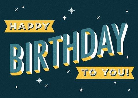 Glückwunschkarte zum Geburtstag Typografie blau 2