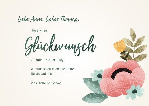 Glückwunschkarte zum Hochzeitstag Blumen 3