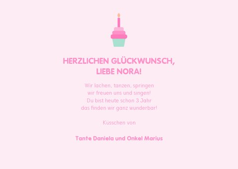 Glückwunschkarte zum Kindergeburtstag Einhorn & Cupcake 3