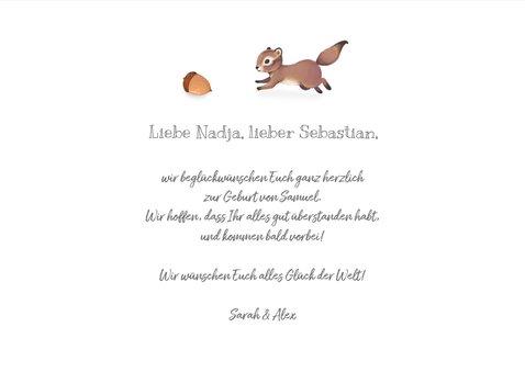 Glückwunschkarte zur Geburt Eichhörnchen 3