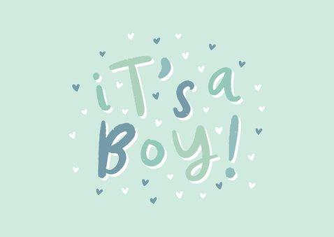 Glückwunschkarte zur Geburt 'it's a boy!' grün 2