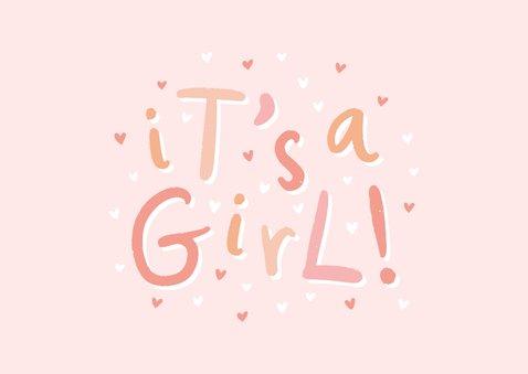 Glückwunschkarte zur Geburt 'it's a girl!' rosa 2