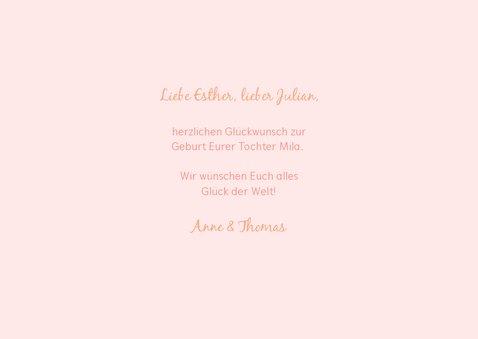 Glückwunschkarte zur Geburt 'it's a girl!' rosa 3