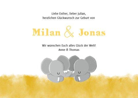Glückwunschkarte zur Geburt von Zwilling Elefanten neutral 3