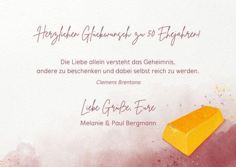 Glückwunschkarte zur goldenen Hochzeit Goldbarren 3