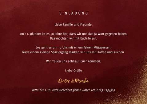 Goldene Hochzeit Einladung Fünfzig Goldlook 3
