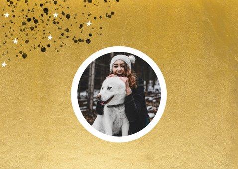 Goudlook nieuwjaarskaart 2021 spetters sterren en foto 2