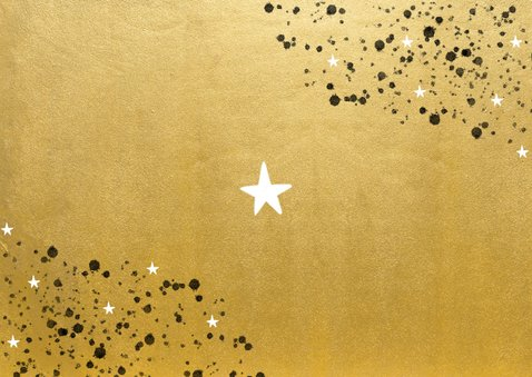 Goudlook nieuwjaarskaart 2021 spetters sterren en foto Achterkant