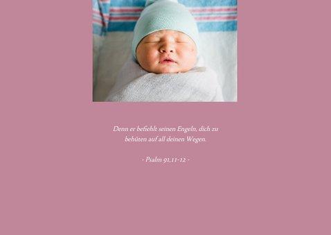 Grafische Einladung zur Taufe Foto rosa 2