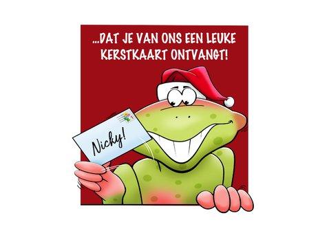 Grappige kaart met kikkers, die je fijne kerstdagen wensen 2