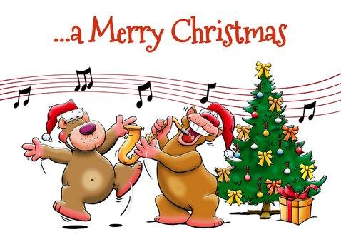 Grappige kerstkaart met beertjes die muziek maken 2