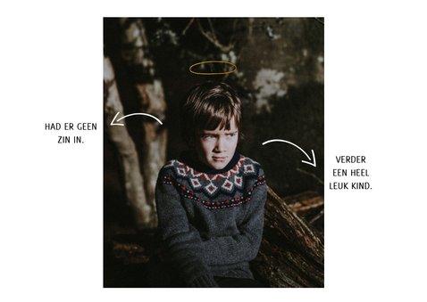 Grappige kerstkaart met foto en aureool 2
