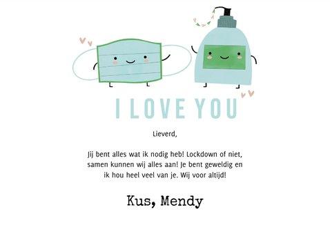 Grappige liefdekaart mondmasker en handzeep illustratie 3
