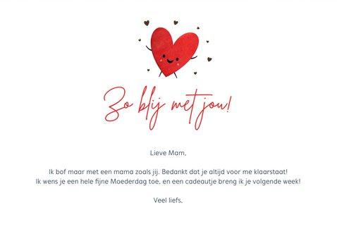 Grappige moederdagkaart met 2 hartjes met oogjes 3