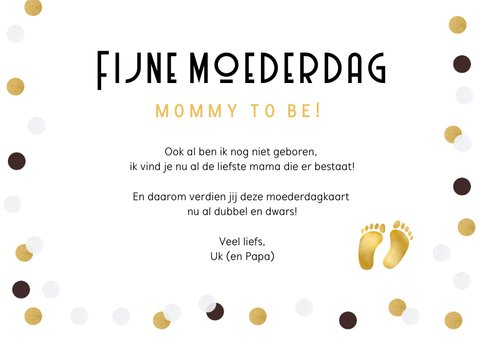 Grappige moederdagkaart voor een mommy-to-be 1+1=2½ 3
