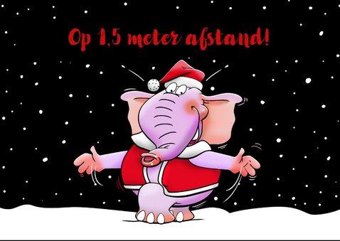 Grappige nieuwjaarskaart met 2 olifanten op 1,5 meter 2